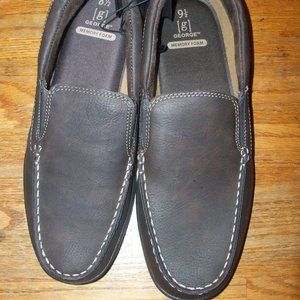 Mens Size 8.5 Brown Loafers Slip-on Slippers